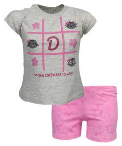 """Πιτζάμα με κοντομάνικη μπλούζα γκρι και σοτσάκι ροζ """"Τρίλιζα"""""""