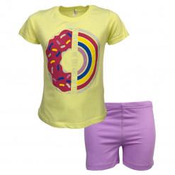 """Πιτζάμα με κοντομάνικη μπλούζα κίτρινη και σοτσάκι μωβ """"Be Bright"""""""