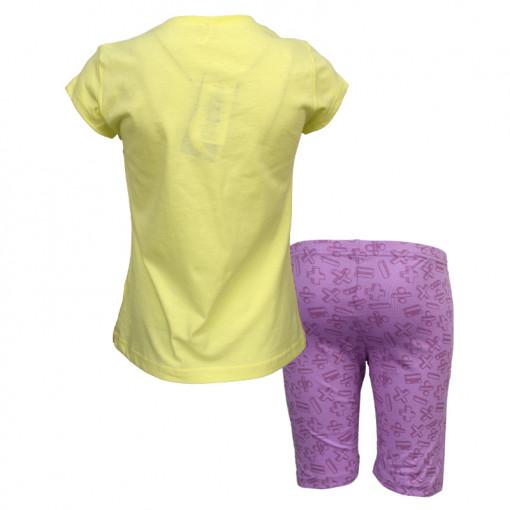 """Πιτζάμα με κοντομάνικη μπλούζα κίτρινη και σοτσάκι μωβ """"Maths"""" πίσω μέρος"""
