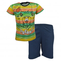 """Πιτζάμα με κοντομάνικη μπλούζα και μπλε σορτάκι """"Λιοντάρι"""""""