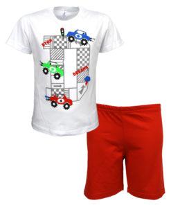 """Πιτζάμα με κοντομάνικη μπλούζα λευκή και σορτσάκι κόκκινη """"Truck"""""""