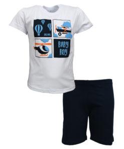 """Πιτζάμα με κοντομάνικη μπλούζα λευκή και σορτσάκι μπλε """"Air Life"""""""