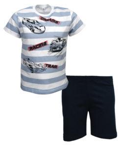 """Πιτζάμα με κοντομάνικη μπλούζα λευκή και σορτσάκι μπλε """"Racing Team"""""""