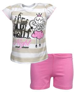 """Πιτζάμα με κοντομάνικη μπλούζα λευκή και σορτσάκι ροζ """"Night"""""""