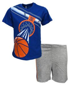 """Πιτζάμα με κοντομάνικη μπλούζα μπλε και σορτσάκι γκρι """"Basket"""""""