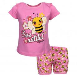 """Πιτζάμα με κοντομάνικη μπλούζα ροζ και σορτσάκι ροζ """"Bee"""""""