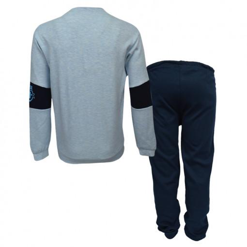 """Πιτζάμα με μακρυμάνικη μπλούζα γαλάζια και παντελόνι σκούρο μπλε """"College Clubs 85"""" πίσω μέρος"""