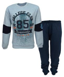 """Πιτζάμα με μακρυμάνικη μπλούζα γαλάζια και παντελόνι σκούρο μπλε """"College Clubs 85"""""""