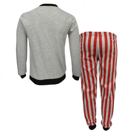 """Πιτζάμα με μακρυμάνικη μπλούζα γκρι και παντελόνι κόκκινο """"Μακιγιάζ"""" πίσω μέρος"""