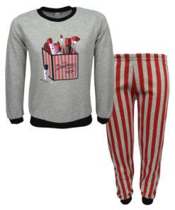 """Πιτζάμα με μακρυμάνικη μπλούζα γκρι και παντελόνι κόκκινο """"Μακιγιάζ"""""""