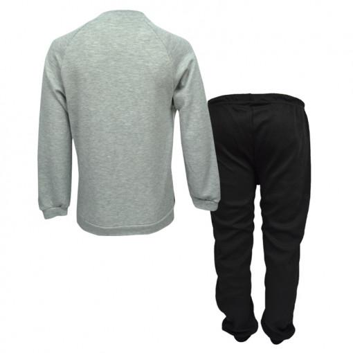 """Πιτζάμα με μακρυμάνικη μπλούζα γκρι και παντελόνι μαύρο """"Dreams"""" πίσω μέρος"""