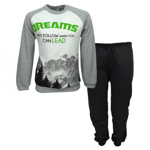 """Πιτζάμα με μακρυμάνικη μπλούζα γκρι και παντελόνι μαύρο """"Dreams"""""""