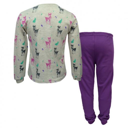"""Πιτζάμα με μακρυμάνικη μπλούζα γκρι και παντελόνι μωβ """"Dreams in the Forest"""" πίσω μέρος"""