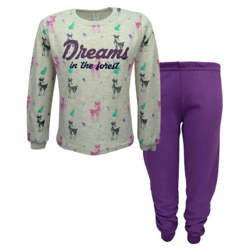 """Πιτζάμα με μακρυμάνικη μπλούζα γκρι και παντελόνι μωβ """"Dreams in the Forest"""""""