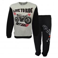 """Πιτζάμα με μακρυμάνικη μπλούζα και μαύρο παντελόνι """"Motorcycle"""""""
