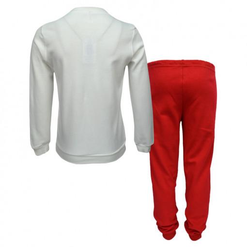 """Πιτζάμα με μακρυμάνικη μπλούζα λευκή και παντελόνι με μάσκα ύπνου κόκκινα """"Best Friends"""" πίσω μέρος"""