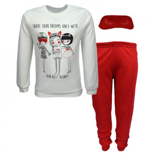 """Πιτζάμα με μακρυμάνικη μπλούζα λευκή και παντελόνι με μάσκα ύπνου κόκκινα """"Best Friends"""""""
