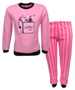"""Πιτζάμα με μακρυμάνικη μπλούζα ροζ και παντελόνι ροζ """"Μακιγιάζ"""""""