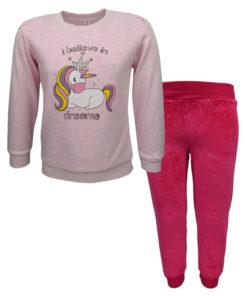 """Πιτζάμα με μακρυμάνικη μπλούζα ροζ και παντελόνι φούξια """"Unicorn"""""""