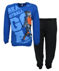 """Πιτζάμα με μπλε μακρυμάνικη μπλούζα και μαύρο παντελόνι """"Football"""""""