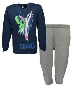 """Πιτζάμα με μπλε σκούρα μακρυμάνικη μπλούζα και γκρι παντελόνι """"Δεινόσαυρος"""""""