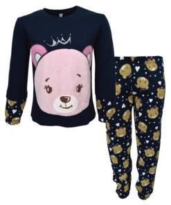 """Πιτζάμα με μπλε σκούρη μακρυμάνικη μπλούζα και ροζ μπλε σκούρο παντελόνι """"Αρκουδάκι"""""""