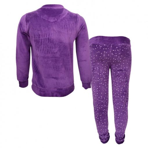 """Πιτζάμα με μωβ μακρυμάνικη μπλούζα βελουτέ και μωβ παντελόνι βελουτέ """"Making Magic"""" πίσω μέρος"""