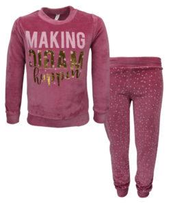"""Πιτζάμα με ροζ μακρυμάνικη μπλούζα βελουτέ και ροζ παντελόνι βελουτέ """"Making Magic"""""""