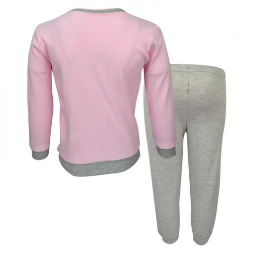 """Πιτζάμα με ροζ μακρυμάνικη μπλούζα και γκρι παντελόνι """"I Need More Space"""" πίσω μέρος"""
