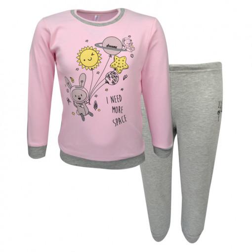 """Πιτζάμα με ροζ μακρυμάνικη μπλούζα και γκρι παντελόνι """"I Need More Space"""""""