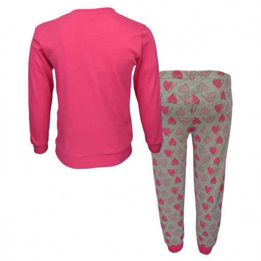"""Πιτζάμα με ροζ μακρυμάνικη μπλούζα και γκρι παντελόνι """"Robot"""" πίσω μέρος"""