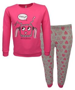 """Πιτζάμα με ροζ μακρυμάνικη μπλούζα και γκρι παντελόνι """"Robot"""""""