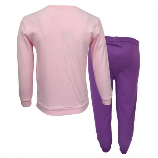 """Πιτζάμα με ροζ μακρυμάνικη μπλούζα και μωβ παντελόνι """"Play Sleep"""" πίσω μέρος"""