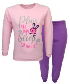 """Πιτζάμα με ροζ μακρυμάνικη μπλούζα και μωβ παντελόνι """"Play Sleep"""""""