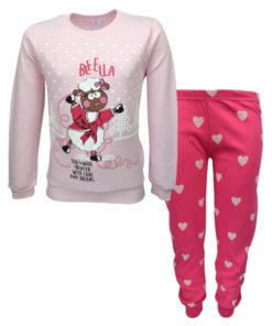"""Πιτζάμα με ροζ μακρυμάνικη μπλούζα και φούξια παντελόνι """"Beeella"""""""