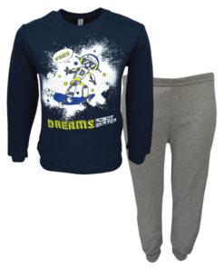 """Πιτζάμα με σκούρα μπλε μακρυμάνικη μπλούζα και γκρι παντελόνι """"Robot Skater"""""""
