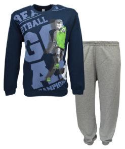 """Πιτζάμα με σκούρη μπλε μακρυμάνικη μπλούζα και γκρ παντελόνι """"Football"""""""