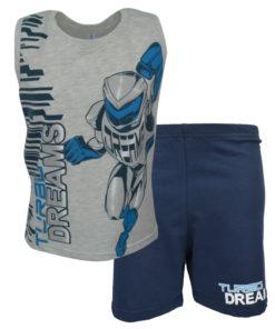 """Πυτζάμα με γκρι αμάνικη μπλούζα και μπλε σορτσάκι """"Turbo dreams"""""""