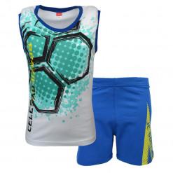 """Σετ άσπρη αμάνικη μπλούζα με μπλε βερμούδα """"Brazil"""""""
