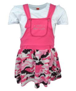 Σετ άσπρη κοντομάνικη μπλούζα και ροζ φόρεμα με τιράντες και τελείωμα παραλλαγής μαζί