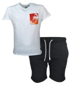 """Σετ άσπρη κοντομάνικη μπλούζα με βερμούδα φόρμα """"Φοίνικας"""""""
