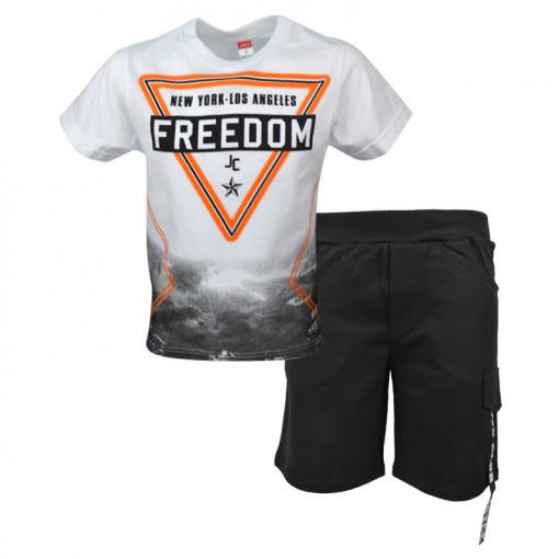 """Σετ άσπρη κοντομάνικη μπλούζα με μαύρη βερμούδα φόρμα """"Freedom"""""""