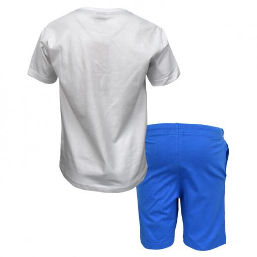 """Σετ άσπρη κοντομάνικη μπλούζα με μπλε φόρμα βερμούδα """"Catch the Wave"""" πίσω μέρος"""