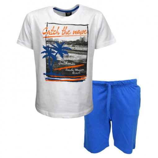 """Σετ άσπρη κοντομάνικη μπλούζα με μπλε φόρμα βερμούδα """"Catch the Wave"""""""