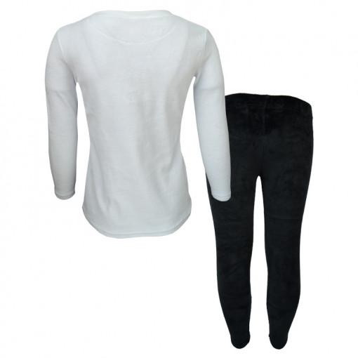 """Σετ άσπρη μακρυμάνικη μπλούζα με μαύρη φόρμα παντελόνι """"Roses"""" πίσω μέρος"""