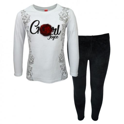 """Σετ άσπρη μακρυμάνικη μπλούζα με μαύρη φόρμα παντελόνι """"Roses"""""""