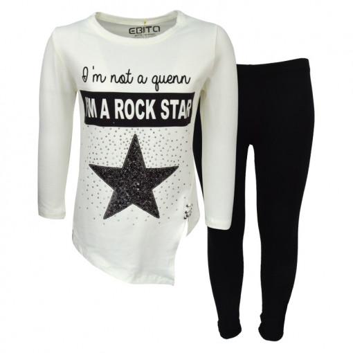 """Σετ άσπρη μακρυμάνικη μπλούζα με μαύρο κολάν """"I'm a Rock Star"""""""