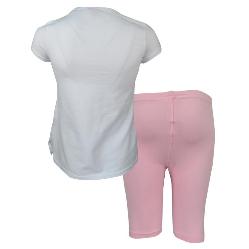 7dc943178559 Σετ άσπρη μπλούζα κοντομάνικη με ροζ κολάν