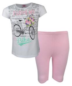 """Σετ άσπρη μπλούζα κοντομάνικη με ροζ κολάν """"Ποδήλατο"""""""