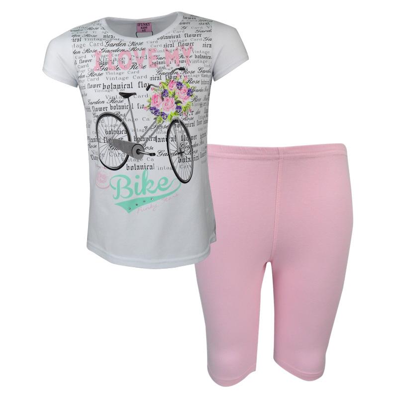 67bda9d3e8e4 Σετ άσπρη μπλούζα κοντομάνικη με ροζ κολάν